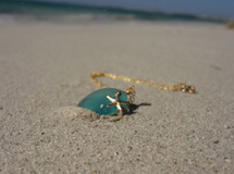 Mermaid tears with starfish-- blue sea glass